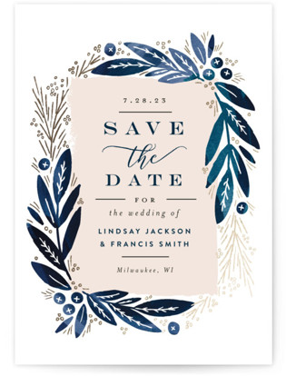 photo of Leaf Frame Save The Date Cards