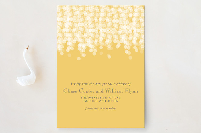 """Under the Stars"" - Elegant, Classical Save The Date Cards in Citrus Yellow by Bethany Anderson."