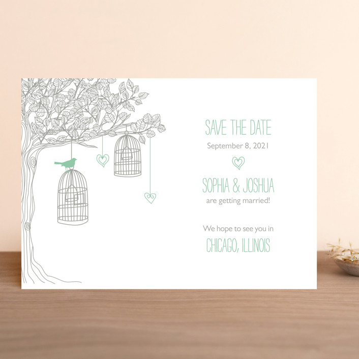 """""""Love Let Loose"""" - Whimsical & Funny Save The Date Cards in Seaglass by Paisley Tree Press."""
