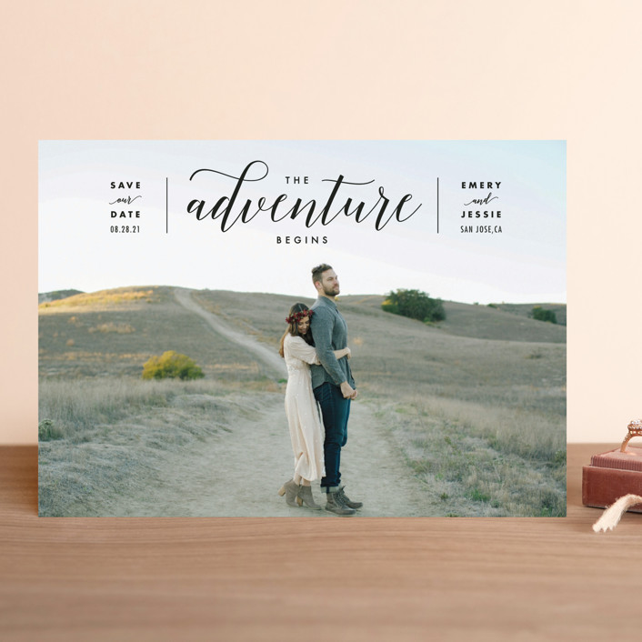 """The Adventure Begins"" - Modern Save The Date Cards in Classic by Kelly Schmidt."