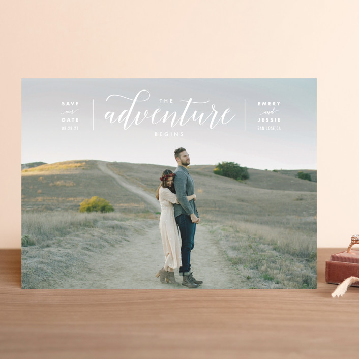 """""""The Adventure Begins"""" - Modern Save The Date Cards in White by Kelly Schmidt."""