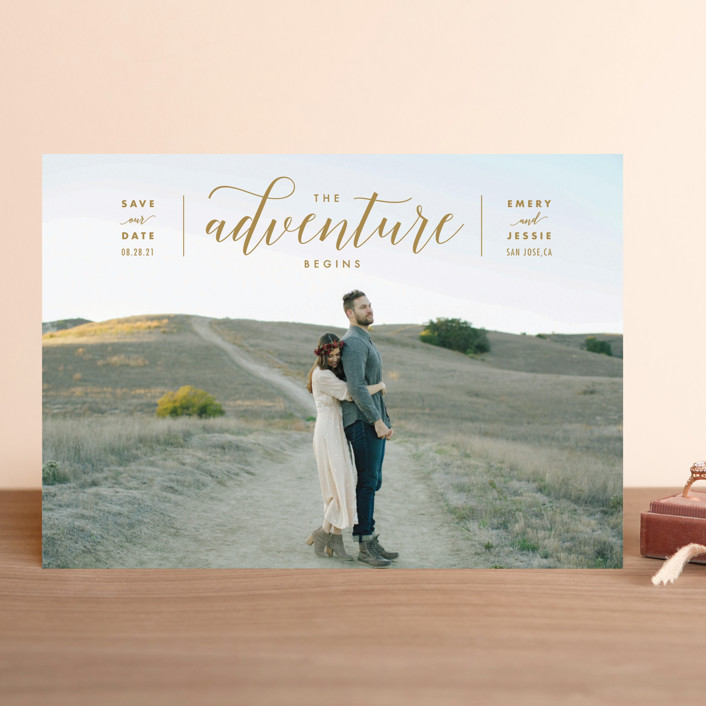 """The Adventure Begins"" - Modern Save The Date Cards in White by Kelly Schmidt."