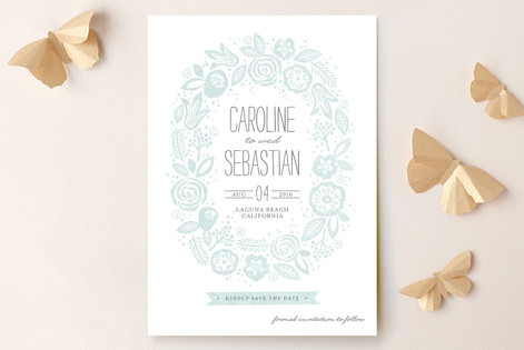 Vintage Wreath Save The Date Cards