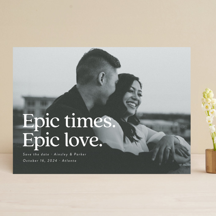 """""""Epic"""" - Save The Date Cards in Snow by Jackie Crawford."""