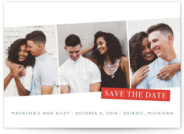 This is a landscape modern, blue, red Save the Dates by Snow and Ivy called Sealed with Standard printing on Smooth Signature in Classic Flat Card format. Multi photo save the date with touch of foil.