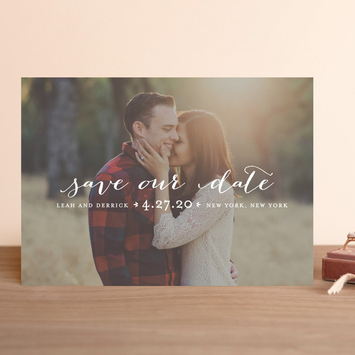 """Meet in the Middle"" - Full-Bleed Photo, Simple Save The Date Cards in Lily by Lauren Chism."