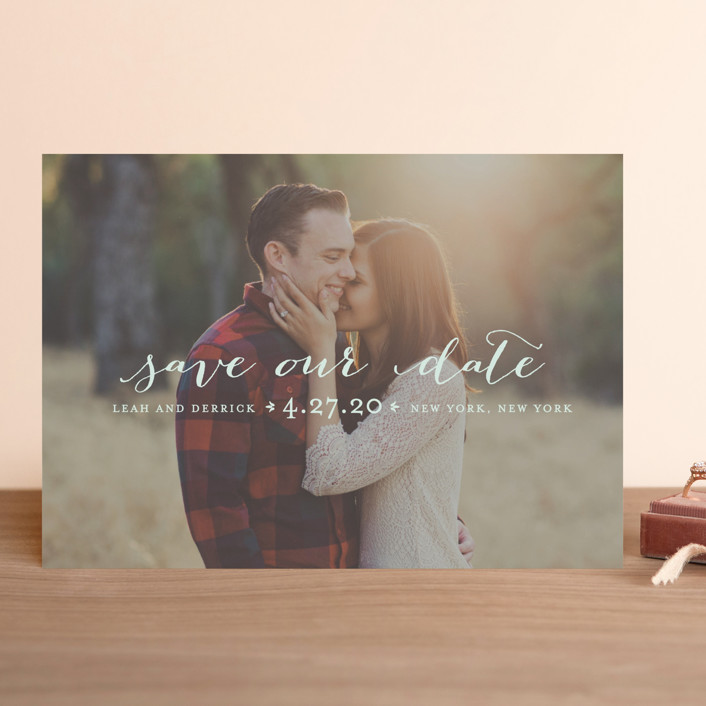 """Meet in the Middle"" - Save The Date Cards in Lily by Lauren Chism."