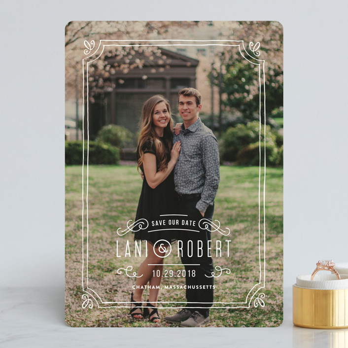 """Hand-Drawn Frame"" - Vintage Save The Date Cards in Chalk by Jennifer Wick."