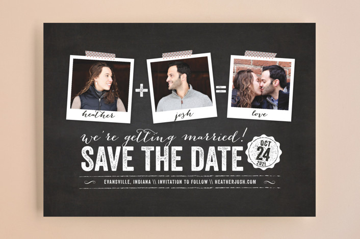 """""""Polaroid on Chalkboard"""" - Modern, Vintage Save The Date Cards in Chalkboard by Coco and Ellie Design."""