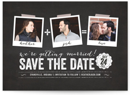 photo of Polaroid On Chalkboard Save The Date Cards