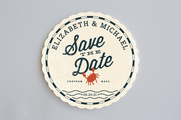 """Salty Sea"" - Beach, Destination Save The Date Cards in Antique White by Oscar & Emma."