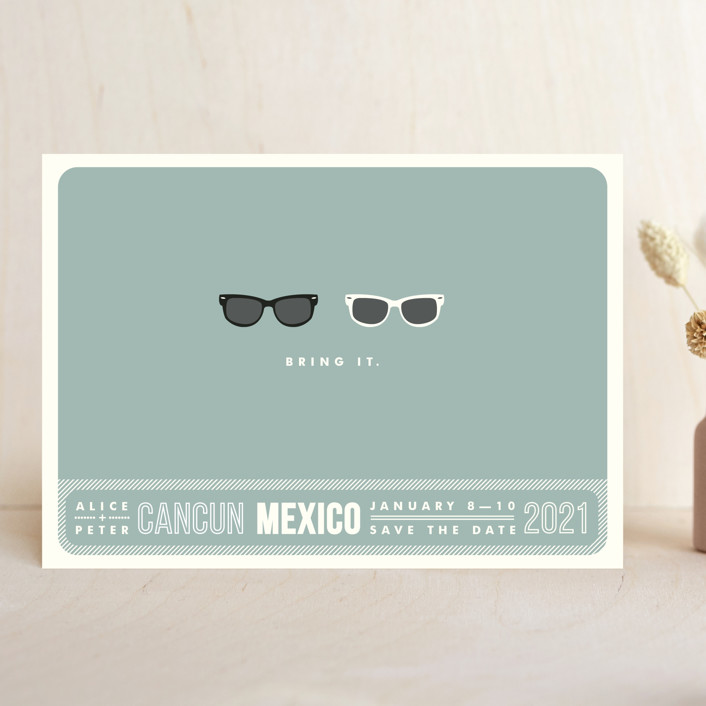 """Shades"" - Save The Date Cards in Celadon by Olive and Violet."
