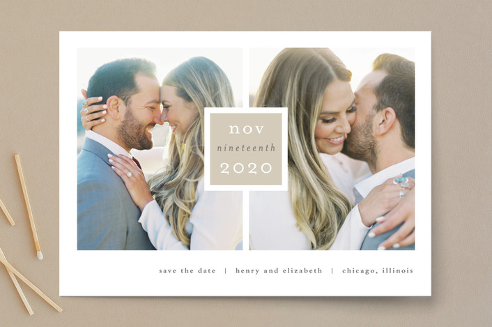 """Frame Up"" - Modern Save The Date Cards in Khaki by Stacey Meacham."