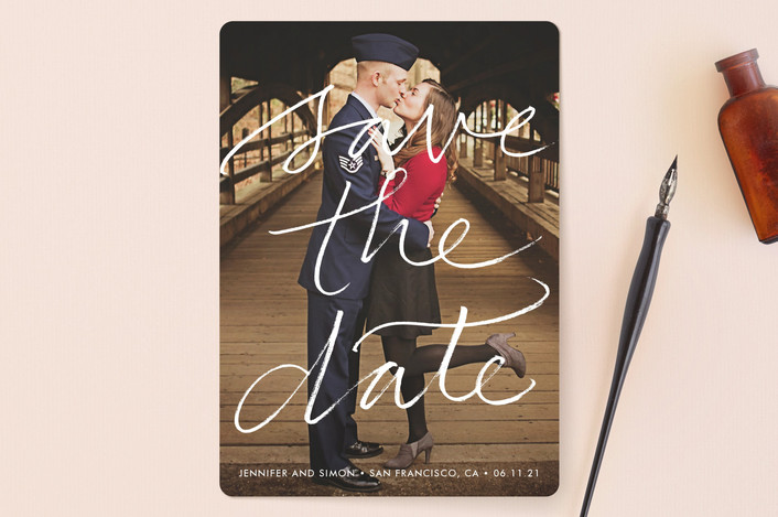 """Boutique"" - Full-Bleed Photo, Simple Save The Date Cards in Chalk by Laura Condouris."