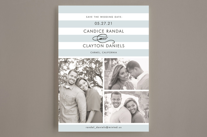 """Striped Gallery"" - Preppy Save The Date Cards in Overcast Blue by Jill Means."