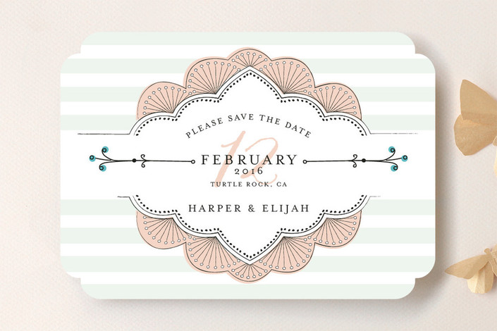 """""""Striped Sweet Nothings"""" - Classical, Modern Save The Date Cards in Romantic by Frooted Design."""