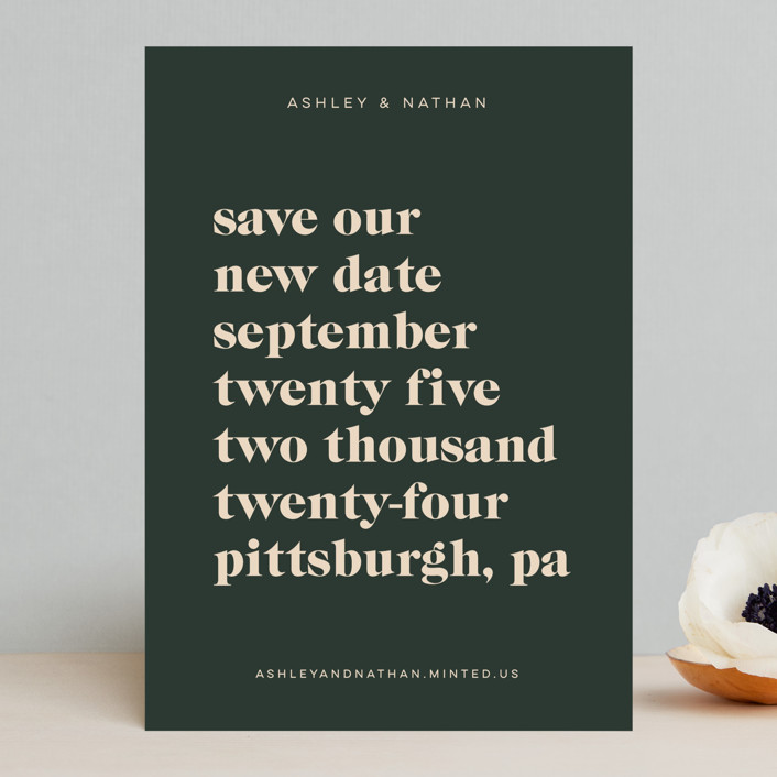 """""""Modern Type"""" - Save The Date Cards in Spruce by April Astudillo."""