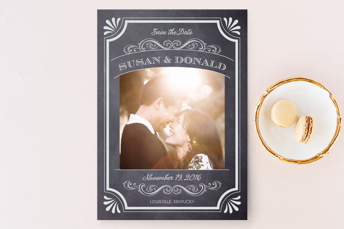 """""""A Chalkboard Marriage"""" - Vintage, Classical Save The Date Cards in Chalk by Erin Deegan."""