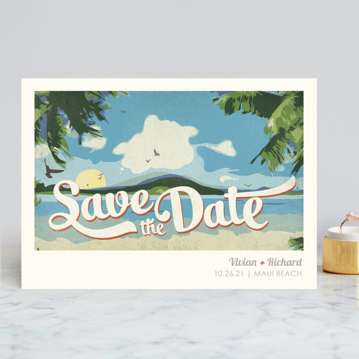 """""""Vintage Tropical"""" - Save The Date Cards in Vibrant by Rebecca Bowen."""