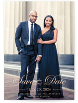 This is a pink save the date by lena barakat called At Last with standard printing on smooth signature in standard.