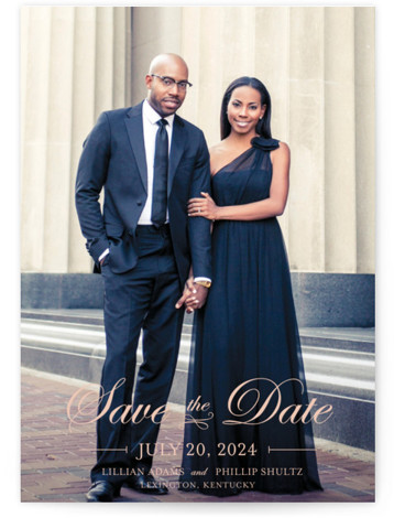 This is a landscape, portrait classic and formal, full bleed photo, pink Save the Dates by lena barakat called At Last with Standard printing on Signature in Classic Flat Card format.
