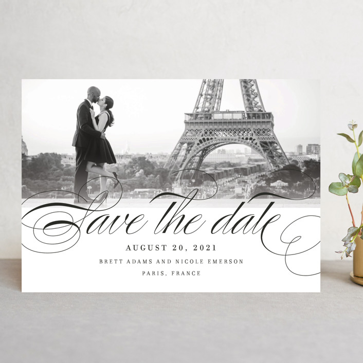 """""""Clean Script"""" - Classical, Elegant Save The Date Cards in Noir by Kimberly FitzSimons."""