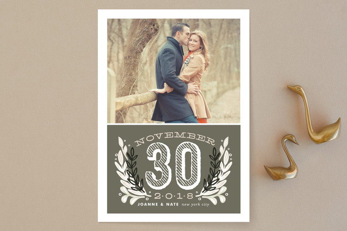 """Chalkboard"" - Bold typographic, Floral & Botanical Save The Date Cards in Charcoal by Alethea and Ruth."