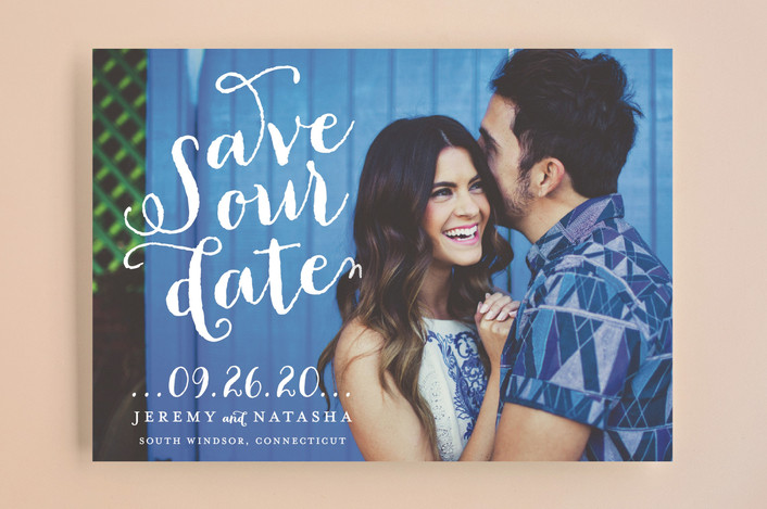 """Swirly"" - Full-Bleed Photo, Modern Save The Date Cards in Snow by roxy."
