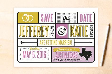 Typography & Icons Save The Date Cards