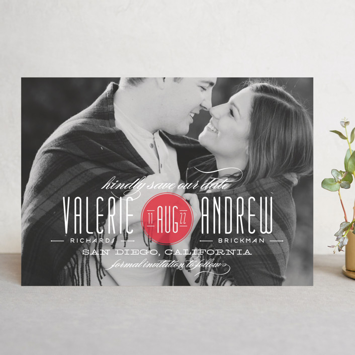 """""""Twine"""" - Modern Save The Date Cards in Coral by Lauren Chism."""