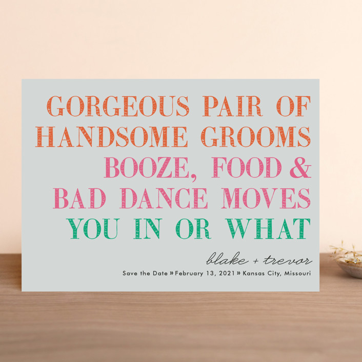 """You In Or What (Two Grooms)"" - Whimsical & Funny Save The Date Cards in Bright Pink by hi-lighter inc.."