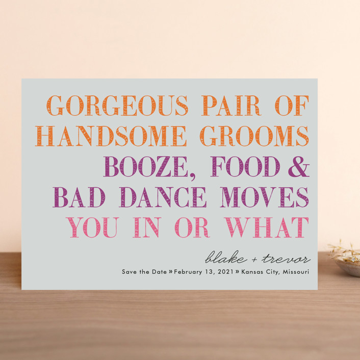 """""""You In Or What (Two Grooms)"""" - Whimsical & Funny Save The Date Cards in Bright Pink by hi-lighter inc.."""