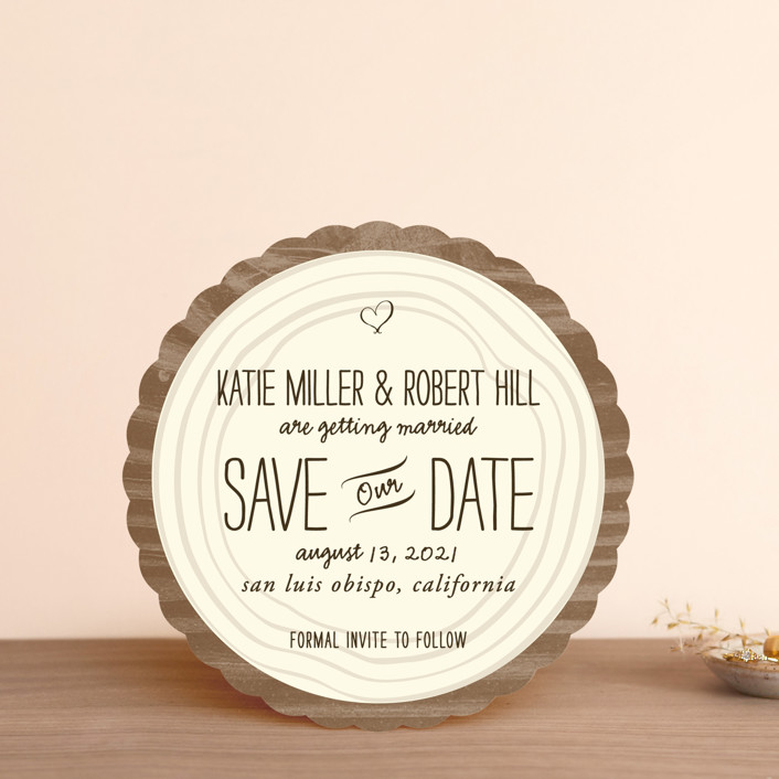 """Wood Carving"" - Rustic Save The Date Cards in Milk Chocolate by SimpleTe Design."