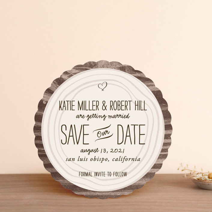 """""""Wood Carving"""" - Rustic Save The Date Cards in Dark Chocolate by SimpleTe Design."""