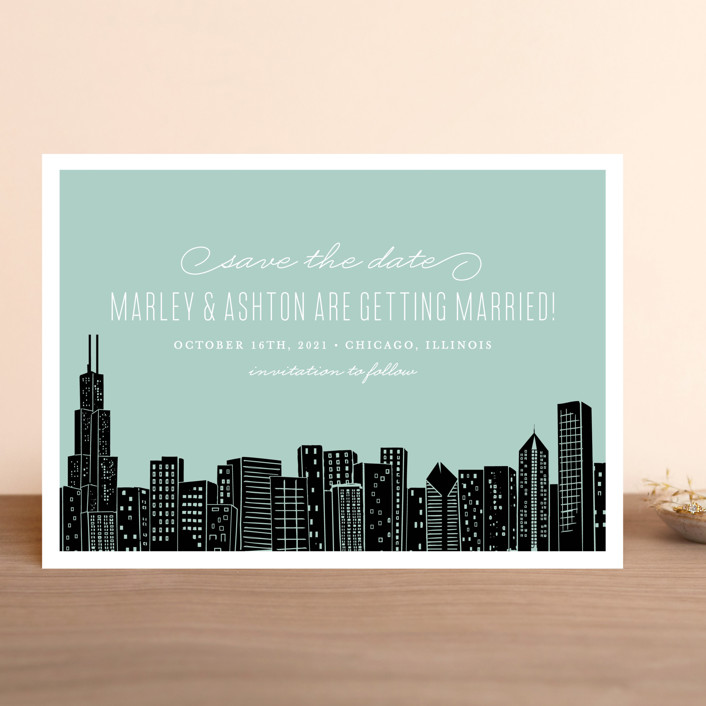"""""""Big City - Chicago"""" - Save The Date Cards in Mint Green by Hooray Creative."""
