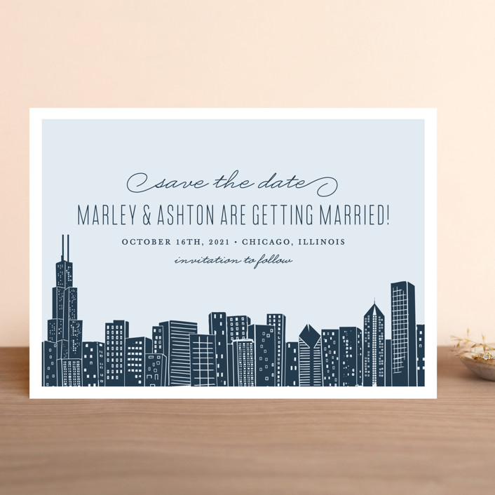 """Big City - Chicago"" - Save The Date Cards in Pale Blue by Hooray Creative."