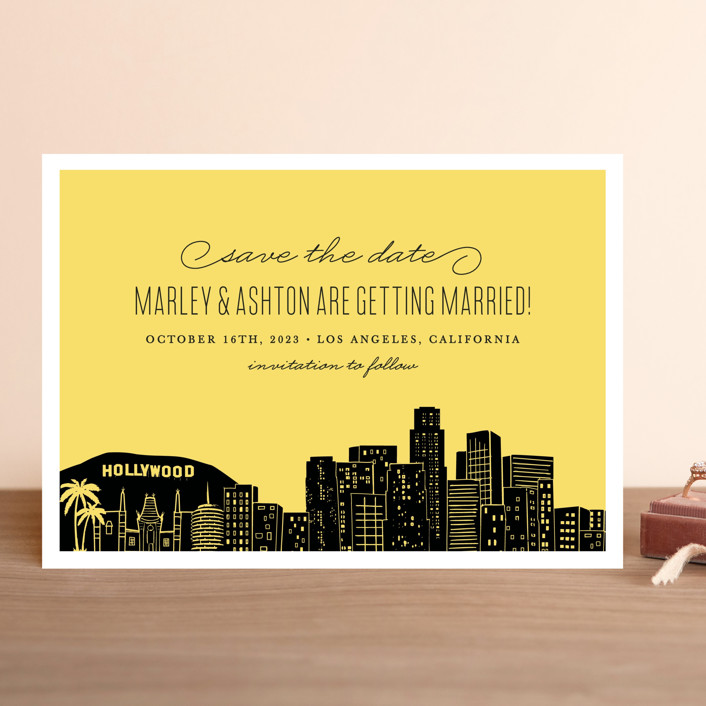 """Big City - Los Angeles"" - Save The Date Cards in Lemondrop by Hooray Creative."