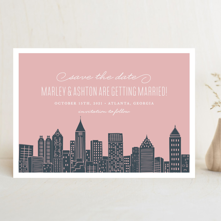 """Big City - Atlanta"" - Destination, Modern Save The Date Cards in Blush by Hooray Creative."