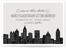 This is a grey save the date by Hooray Creative called Big City - Atlanta with standard printing on signature in standard.