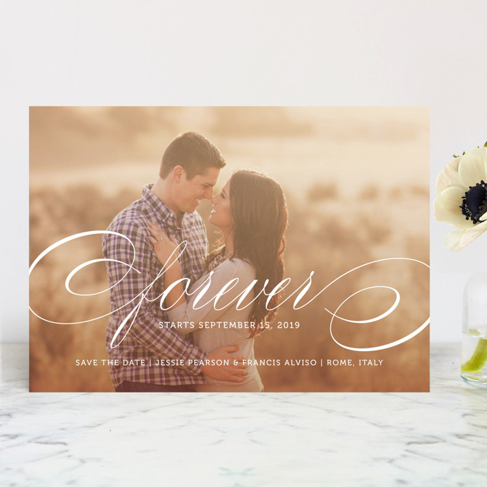 """Forever"" - Save The Date Cards in Snow by Kimberly FitzSimons."