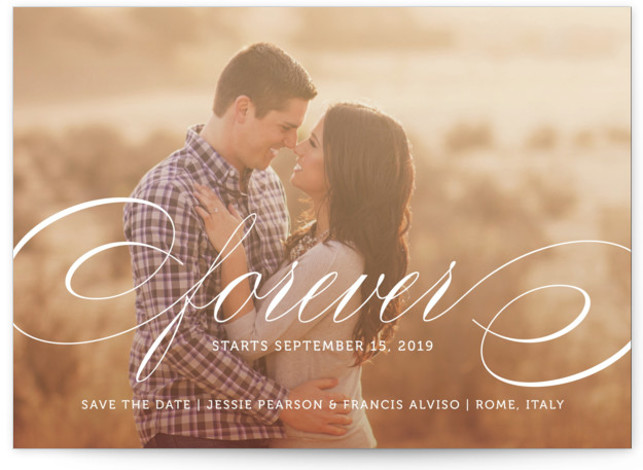 This is a landscape classic and formal, white Save the Dates by Kimberly FitzSimons called Forever with Standard printing on Smooth Signature in Classic Flat Card format.