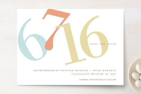 Numbers Save The Date Cards