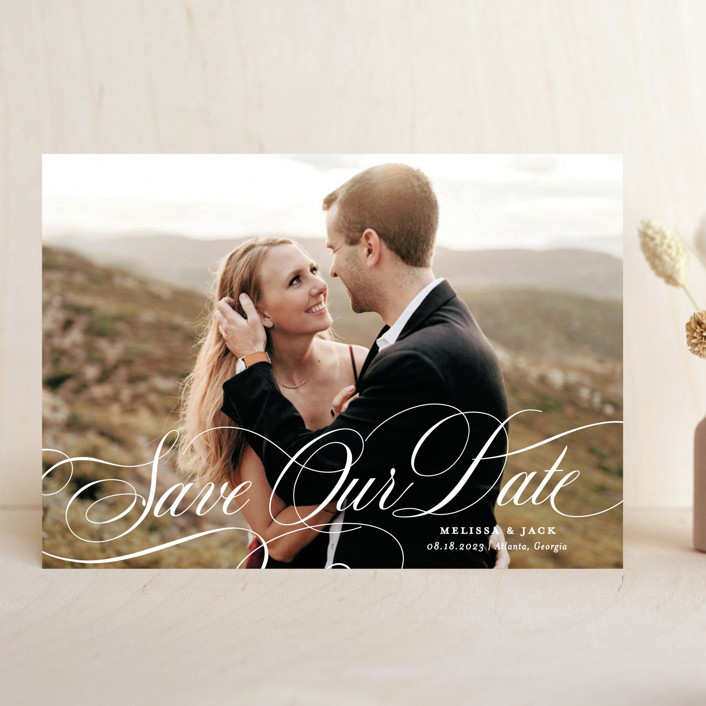 """Resplendent"" - Save The Date Cards in Vanilla by Sarah Brown."