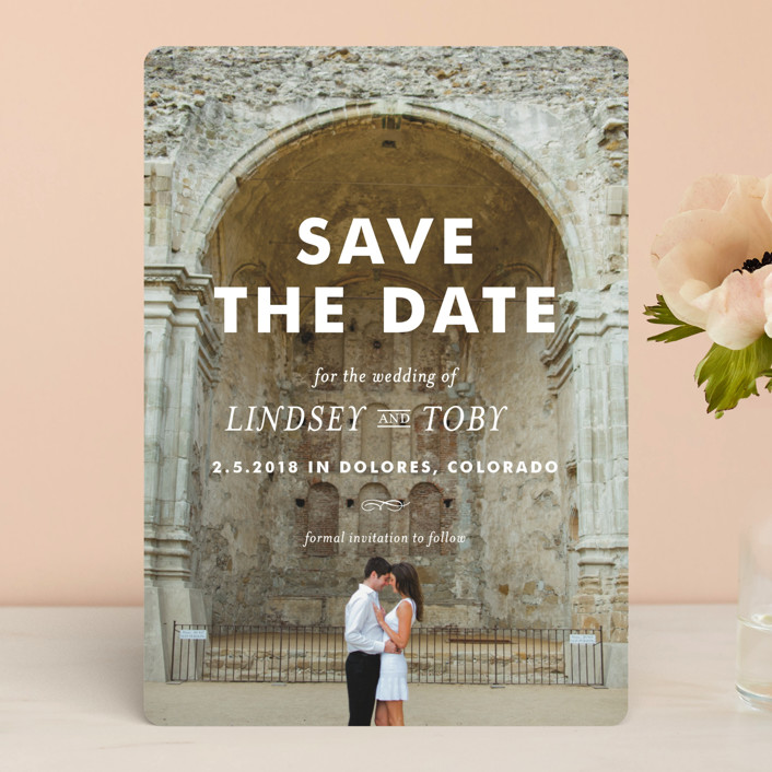 """Memento"" - Modern Save The Date Cards in Ivory by annie clark."