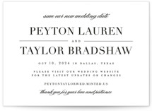 This is a black save the date by Lauren Chism called Classic with standard printing on signature in standard.