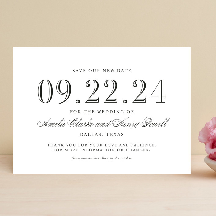 """""""Hepburn"""" - Save The Date Cards in Tuxedo by Toast & Laurel."""