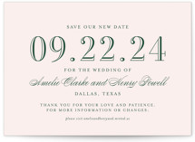 This is a pink save the date by Toast & Laurel called Hepburn with standard printing on signature in standard.