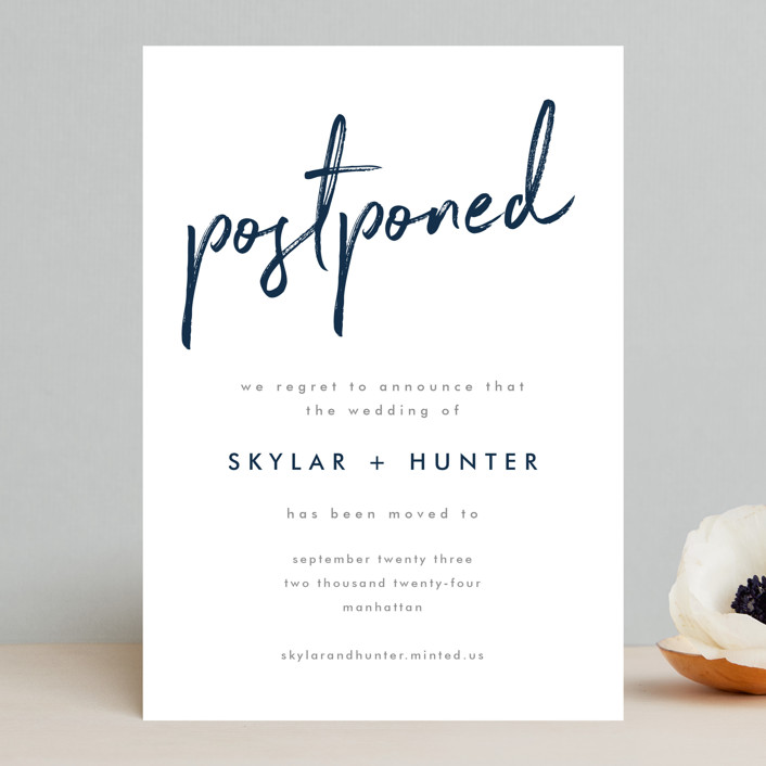 """Funky Names"" - Save The Date Cards in Navy by Phrosne Ras."