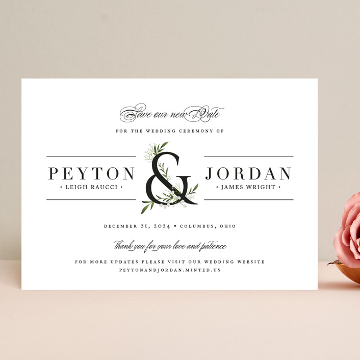 """""""Adorned Ampersand"""" - Save The Date Cards in Cotton by Jennifer Postorino."""