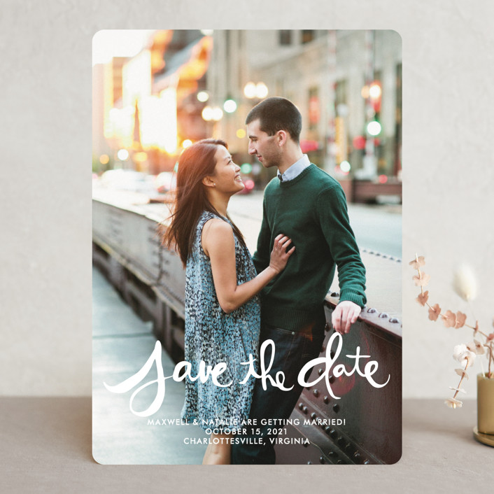"""""""Hand-Lettered"""" - Bohemian Save The Date Cards in Lily by Dean Street."""